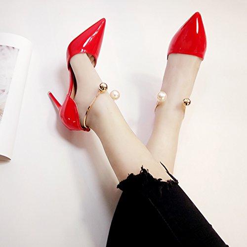 De Tacón Finos High Verano De Boda Silver Zapatos Boda Rojo Zapatos Talón De 10Cm9 Heels Pearl Zapatos Rojo Gules GAOLIM Y Primavera De xwAq5YqI