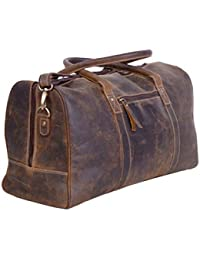 24 Inch Leather Duffel Bags for Men and Women Full Grain Leather Travel Overnight Weekend Leather Bags Sports Gym Duffel for Men (Brown Distressed Tan)