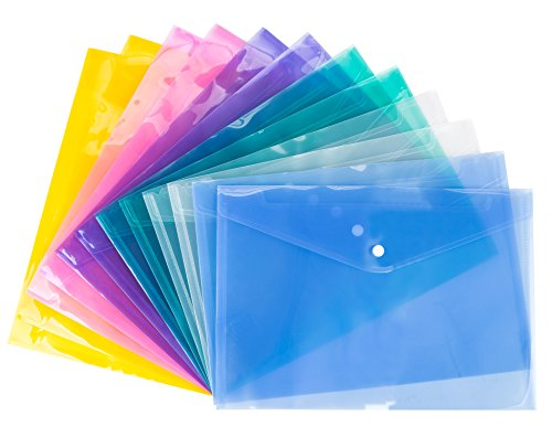 Bekith Clear document folder with snap button,Premium Quality Poly Envelope, (A4 Set)