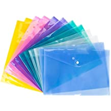 Bekith Clear document folder with snap button,Premium Quality Poly Envelope, US LETTER / A4 size, Set of 12 in 6 assorted Colors, Blue, Green, Orange, White, Purple, Pink