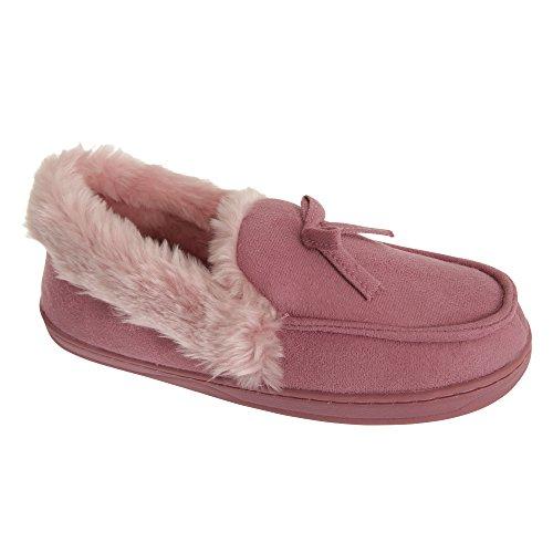 SlumberzzZ Pantofole a Mocassino con pellicciotto - Donna (36) (Rosa)
