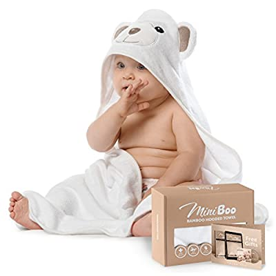 Premium Extra Soft Baby Bamboo Hooded Towel with Unique Bear Design – Antibacterial and Hypoallergenic Baby Towels for Infant and Toddler – Suitable as Baby Gifts