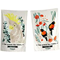 Canningvale Aussie Twin Pack 100% Cotton 400 GSM Tea Towel Native Birds Soft Dining Accessory