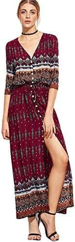 Milumia Women's Button Up Split Floral Print Vintage Long Slim Maxi Dress