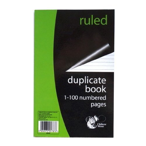Ruled and Perfect Bound Duplicate Book Size 204mm X 127mm by 151 Products LTD 1 to 100 Numbered Pages