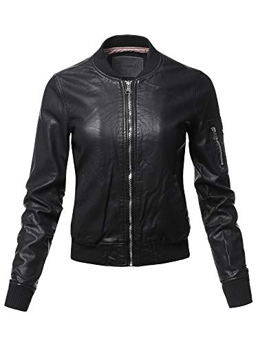 Awesome21 Casual Long Sleeves Faux Leather Bomber Jacket Black S