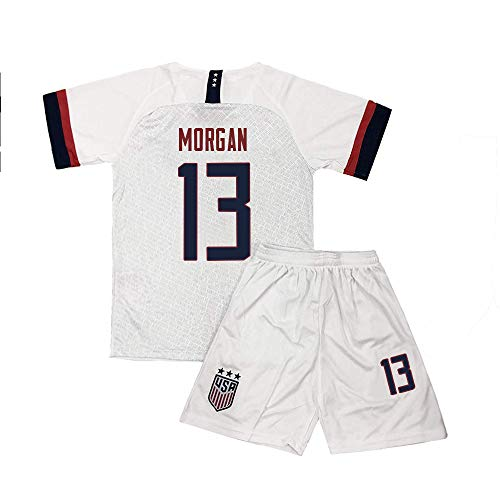 Kllnie Kids Morgan Jersey Girls USA 13 Soccer Home Youth Shorts Alex Sizes White (S=22(4-6Years Old)) (Childrens Usa Soccer Jersey)