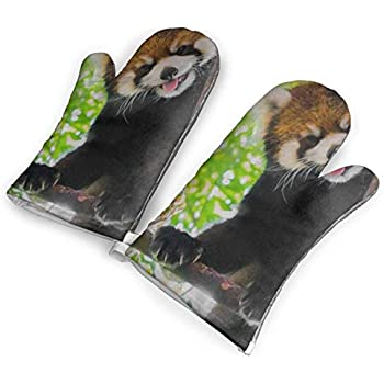 VshiXzno Red Panda Oven Mitts,Professional Heat Resistant to 500?? F,1 Pair of Non-Slip Kitchen Oven Gloves for Cooking,Baking,Grilling,Barbecue Potholders