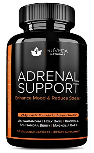 Adrenal Support - Natural Adrenal Fatigue Supplements, Cortisol Manager with Ashwagandha Extract, Rhodiola Rosea, Holy Basil, Adaptogenic Herbs for Anxiety Relief, Stress Relief & Adrenal Health ()