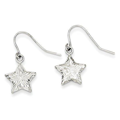 14k Gold WG 3-D Diamond Cut Star Dangle Earrings (1.18 in x 0.47 (14k Wg Diamond Dangle)