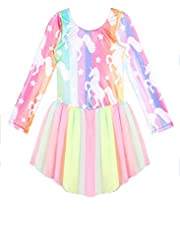 Long Sleeve Skirted Leotards for Girls Gymnastics Dance Dress Unicorn Mermaid Rainbow Skirts Skorts