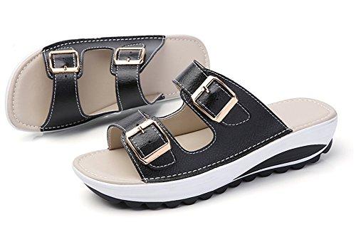 Wedges Heeled Platform Ups Comfort Toe Sandals Leather Women's Shape Cystyle Shoes Walking Women for Black Peep qBFxSwntEn