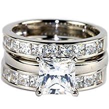 ELLIN Platinum Clad 925 Silver Cubic Zirconia Princess-Cut 6.72 CT. T.W. Bridal Ring and Guard