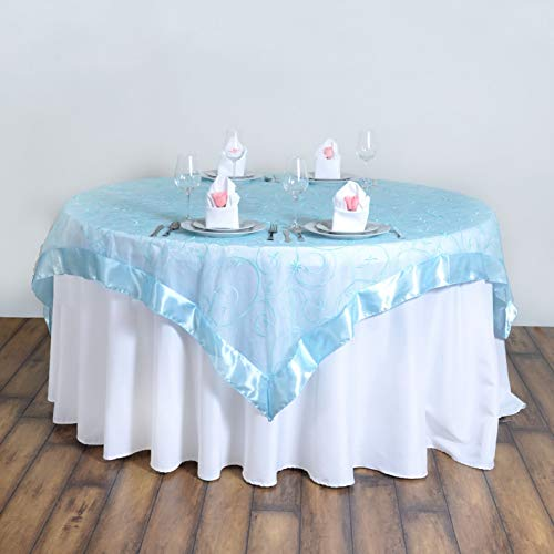 Mikash 72x72 Embroidered Sheer Organza Table Overlay Unique Wedding Party Decorations | Model WDDNGDCRTN - 15527 |]()