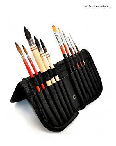 Pebble Art Paint Brush Holder - Foldable Organizer For 14 Short Handle Brushes, Artist's Quality (11'' x 5'') by PebbleArt