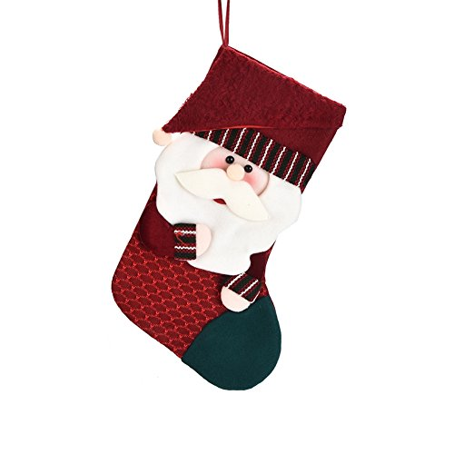 Ahappon Christmas Stocking 3D Plush Santa Cute Applique Hanging Gift Stocking Bag Xmas Holiday Decoration Ornament for Home Party Restaurant Hotel 19 inch