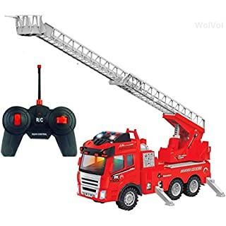 WolVol Remote Control Electric Fire Truck - Lighted RC Firefighter Engine w/ Extending Ladder & Sounds - Non Toxic Fireman Vehicle Action Toy for Kids