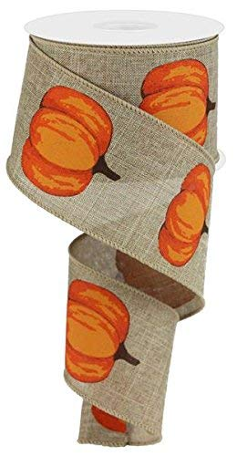 Autumn Pumpkins Wired Edge Ribbon, 2.5 Inches x 10 Yards (Beige, Orange) by Craig Bachman