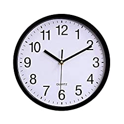 Yesee 10 inch Silent Wall Clock Non Ticking Quartz Mechanism Battery Operated Modern Clock Wall Decor Large Decorative Kids Kitchen Bedroom Living Room (10'' Black)
