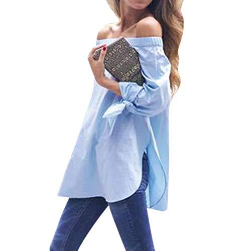 Large Dsinvolte Blouse Encolure Fourcher Shirt Bateau Branch Epaule Chemise Tunique Bleu Top Haut Unicolore Clair Bowknot Tee Irregular Nue Manches Femme Hipster Longues Et wqYr7Xq