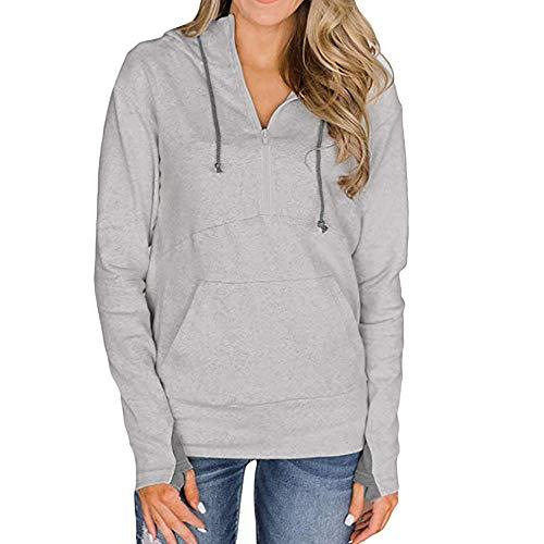 URIBAKE Womens Solid Hoodie Long Sleeve Thumb Hole Zip Collar Trendy Pockets Hooded Spring Pullover Sweatshirt Gray
