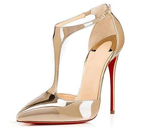 Et De Souligné Chaussure GONGFF Hauts D'or A À Sandales Simple Pointu Les De Mesdames Le T Talons Creuse Avec Laque Sac Gold ww7E8Fzxq