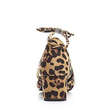 LvYuan Mujer-Tacón Robusto-Otro-Sandalias-Oficina y Trabajo Vestido Informal-Vellón-Negro Almendra Leopardo almond