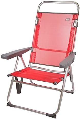 Aktive 53972 - Silla multiposición aluminio 63 x 57 x 99 cm - rojo
