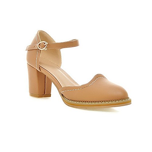 AllhqFashion Women's Soft Material Closed Pointed Toe High-Heels Buckle Solid Sandals apricot zPbXwDW