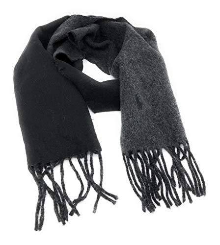 Polo Ralph Lauren Men's Made In Italy Wool Reversible Scarf Black Grey ()