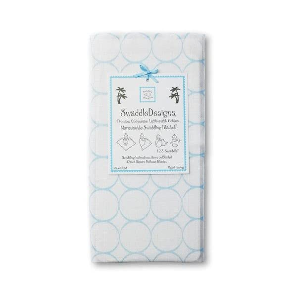 SwaddleDesigns Marquisette Swaddling Blanket, Premium Cotton Muslin, Pastel Blue Mod Circles