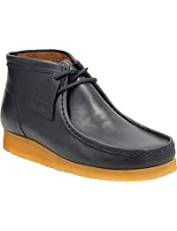 Clarks Men's Wallabee Boot,Petrol Blue Leather,US 7 M