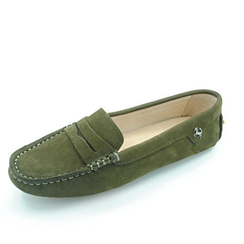 Nubuck Leather ante mujer Minitoo Brown Mocasines para de xHUww8qY