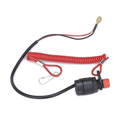 CISNO Universal Boat Outboard Engine Motor Kill Stop Switch & Safety Tether Lanyard