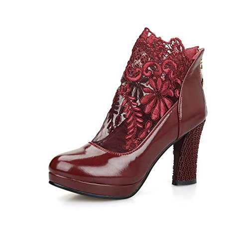 High Toe Claret Boots Closed AmoonyFashion Round Women's Solid Heels High Ankle Bpat0w