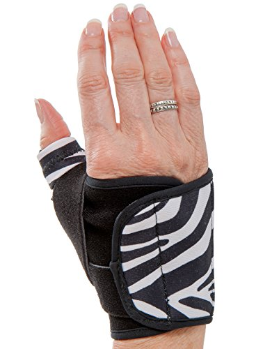 3-Point Products Design Line Thumb Arthritis Splint, Moderate Support for CMC Joint Pain - Left Hand, Size Medium, Zebra Pattern