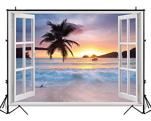 (Funnytree 7x5ft Summer Tropical Beach Backdrop Hawaiian Seaside Sunset Palm Tree Photography Background for Picture White Wooden Windows Blue Sea Sky Luau Themed Party Decorations Photo Booth Studio)