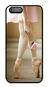 Protective PC Case Skin for iphone 5 Black PC Case Back Cover Shell for iphone 5S with Pink Ballet Shoes