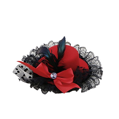 Kocome Bow Hair Clip Lace Feather Mini Top Hat Fascinator Burlesque Party Fancy Dress (Red)