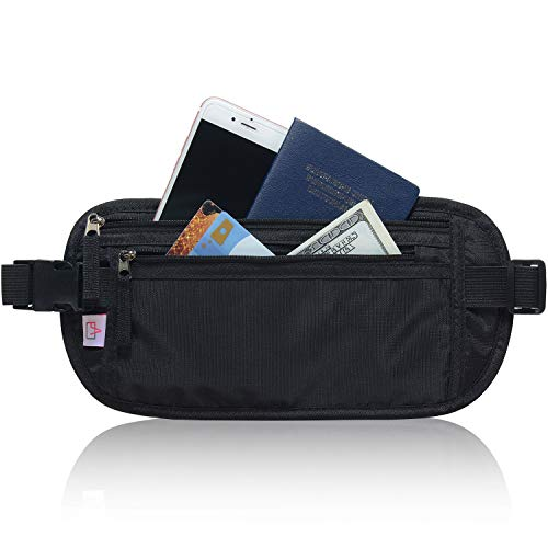 RFID Blocking Travel Wallet - Money Belt & Passport Holder for Women Men - Black (Belt Travel Money)