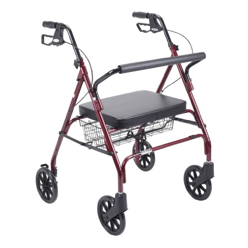 Drive Medical Heavy Duty Bariatric Walker Rollator with Large Padded Seat, Red
