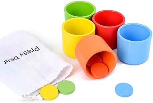 minansostey Montessori Wooden Color Classification Matching Cup Kids Early Educational Toys