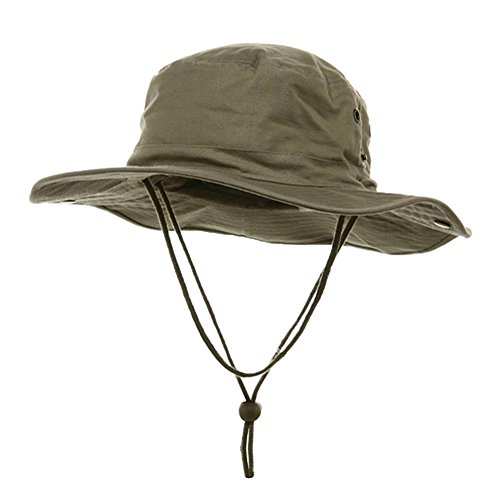 MG Mens Brushed Cotton Twill Aussie Side Snap Chin Cord Hat (Khaki Brown, Large)