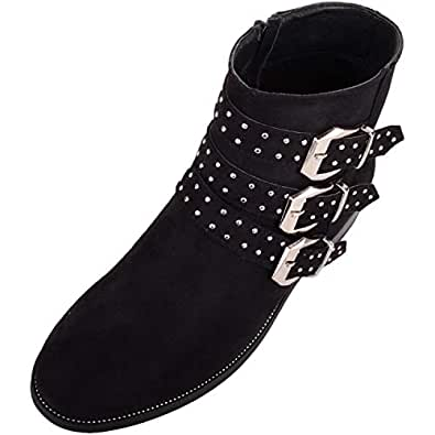 Absolute Footwear Womens Chelsea/Biker Ankle Suede Boots/Shoes with 3 Studded Strap Design - Black - US 6