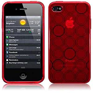 Circles TPU Gel Case By Terrapin - Red Circles for Apple iPhone 4