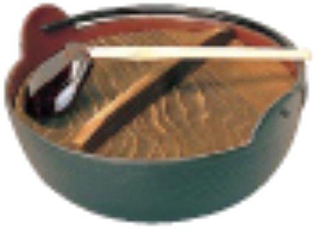 東伸販売 五進 田舎鍋 (杓子付) 30cm (内面黒ホーロー仕上) 本体(鉄鋳物 蓋(焼き杉 日本 QIN06030   B0084Y5VOO