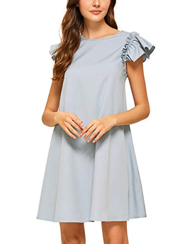 (Romwe Women's Ruffle Trim Sleeve Summer Beach A Line Loose Swing Party Dress Light Blue S)