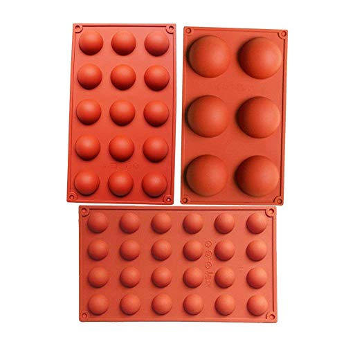 - Bakeware Set Silicone Mold for Cake Decoration Mousse Jelly Pudding Candy Chocolate 6 Holes semicircle 15 Holes semicircle 24 Holes semicircle Each Design 1pc Brown Color, Set of 3