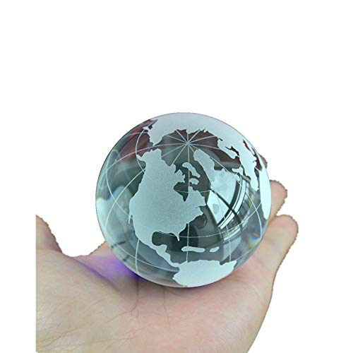 Crystal Glass Marbles Earth Globe World map Quartz Crystals Sphere Terrarium Desk Ornaments Nautical Home Decor (Clear)