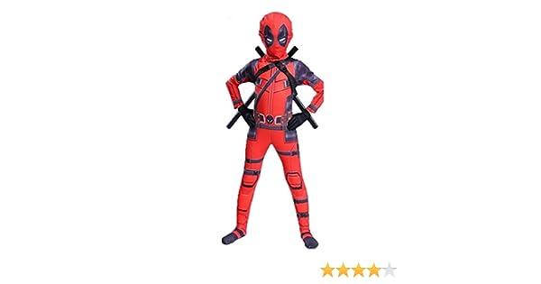 BLOIBFS Traje De Cosplay De Deadpool, Traje Deportivo Vestimenta Combinada De Escenario,Children-L